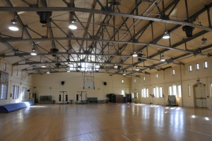 An interior view of the Hawley Armory.