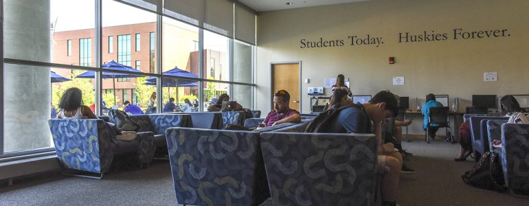 Student studying in the Union