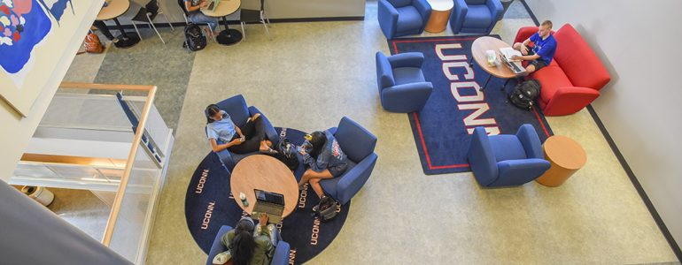 Students talking in a Union pocket lounge